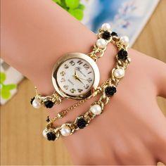 Fashion Faux chain pearl bracelet Quartz watch gld Beautiful chain bracelet watch Accessories Watches
