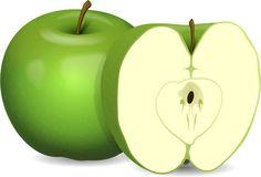 Vector de la imagen de la manzana y corta por la mitad