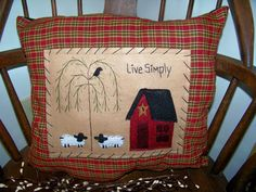 Prim Pillow Saltbox House Decor Sheep Crow Willow Tree Rustic Folk Art Country Home Americana Primitive Farmhouse Colonial Salt Box. $15.49, via Etsy.