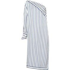 Monse long striped asymmetric shirt (99.735 RUB) ❤ liked on Polyvore featuring blue
