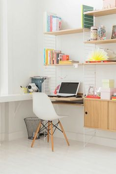 modern home office in white with color pop