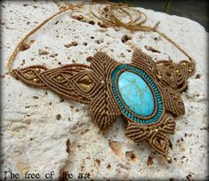 Handmade macrame necklace with Turquoise by TheTreeOfLifeArt