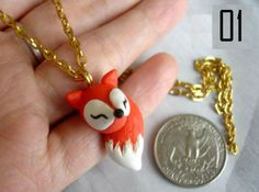 Items similar to Fox Necklace / Handmade Polymer Clay Jewelry / Made to Order on Etsy Polymer Clay Animals, Cute Polymer Clay, Cute Clay, Polymer Clay Charms, Diy Clay, Handmade Polymer Clay, Polymer Clay Jewelry, Clay Crafts, Clay Fox