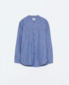 Image 6 of SLUB SHIRT WITH STAND COLLAR from Zara
