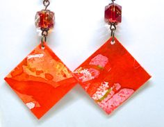 Items similar to Watercolor Painting Earrings, Paper Earrings, Anniversary Gift, Paint on Paper, Paper Anniversary Gift on Etsy Paper Bead Jewelry, Paper Earrings, Paper Beads, Jewelry Crafts, Beaded Jewelry, Paper Paper, Paper Gifts, Paper Craft, 1st Anniversary Gifts