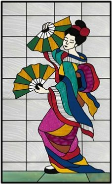 Geisha stained glass window panel by http://AGlassMenagerie.net