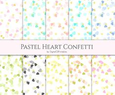 Heart confetti digital papers. Pastel heart and gold foil confetti digital papers by DigitalCSPrintables. For scrapbooking, card making, decoupage and other paper crafts.  http://www.etsy.com/listing/268295091/heart-confetti-digital-paper-heart