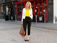 Reiss jacket, H & M top, Topshop trousers, Kurt Geiger shoes, Dorothy Perkins necklace, Givenchy bag.
