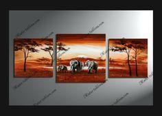 Tableau Africain Elephants Walking