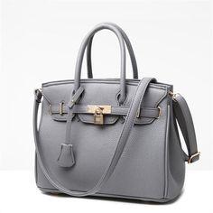 Lock Rivet Leather Handbag