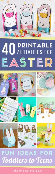 Printable Easter Activities for Kids including fun crafts, scavenger hunts, coloring pages, bag toppers, treat bags, gift tags and more! Simple and fun DIY Easter ideas for school or home for children aged preschool to teens. via @whatmomslove