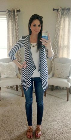 Tina Striped Open Cardigan-Stitch Fix Striped Cardigan, Open Cardigan, Mommy Style, Style Me, Fashion 2017, Fashion Outfits, Cute Cardigans, Comfortable Fashion, Casual Looks
