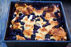 Great brunch party bread pudding casserole, with maple syrup and blueberries.  Breakfast bake recipe.
