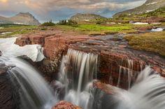 Triple Falls in Glacier-National-Park-Montana