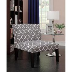 Emily Accent Chair, Grey/White Pattern