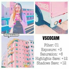 C1 Exposure +3 Saturation +6 Highlights Save +12 Shadows Save +12 Vsco Photography, Photography Filters, Photography Editing, Pastel Filter, Pink Filter, Vsco Cam Filters, Vsco Filter, Vsco Gratis, Fotografia Vsco