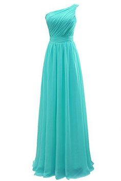 5bae470598 Prom Queen Women s One Shoulder Long Bridesmaid Dresses Size 10 Tiffany  Blue PromQueen www.amazon