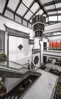 Modern Chinese architecture tries too blend western and eastern cultures more. You can see hints of both in this picture. Modern Chinese Interior, Asian Interior Design, Asian Design, Chinese Design, Chinese Style, Asian Architecture, Interior Architecture, Design Hotel, House Design