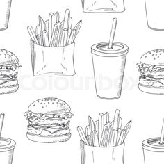 Seamless pattern with sketched burger, french fries and milk shake ...