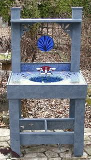outdoor garden sink mosaic