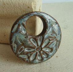 Ceramic Pendant Robins Egg Blue Flower Power by Artgirl56 on Etsy, $12.50