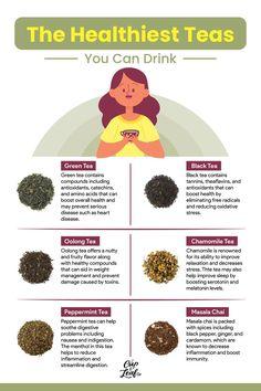 A Breakdown of the Healthiest Teas To Drink - Cup & Leaf #tea #tearecipe #teainfographic #infographic #teaforhealth #healthbenefitsoftea #healthyliving #naturalremedy #naturalhealth