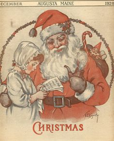 i think santa is creepy, but i love non-creepy vintage prints of him