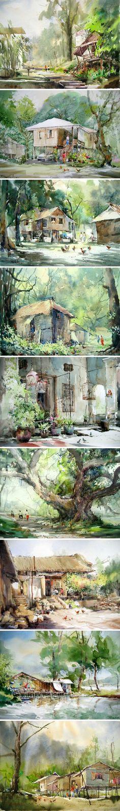 一直感觉只有水彩才能如此淋漓的表现出时光的那种柔软与细腻,作品来自马来西亚水彩画家Phang Chew~
