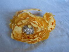 Yellow Satin Handmade Bridal Headband by IrmasElegantBoutique Bridal Headbands, Diy Headband, Candle Holders, Satin, Candles, Trending Outfits, Yellow, Unique Jewelry, Handmade Gifts