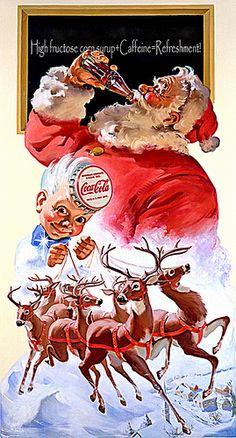 Coca Cola and Santa Clause illustration ads