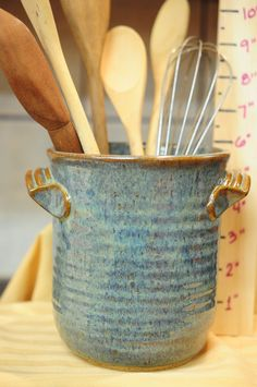 "6"" Tall Stoneware Pottery Utensil Holder in Antique Iron _ Is a great piece to not only hold utensils, but your favorite paintbrushes as well, combs and brushes, etc."