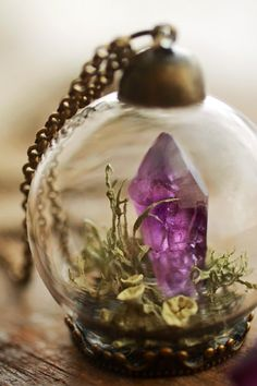 Miniature terrarium necklace, raw Amethyst pendant, long crystal necklace, lichen jewellery, green moss terrarium, glass orb pendant by RubyRobinBoutique on Etsy