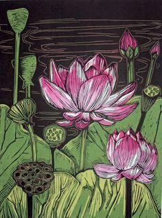 Woodblock Prints - EdamamePress ~ Artist Amanda Gordon Miller - try with scratch art tech. Lotus Kunst, Lotus Art, Art And Illustration, Botanical Illustration, Kratz Kunst, Linocut Prints, Art Prints, Block Prints, Posca Art