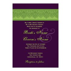 Lime Damask and Eggplant Wedding Personalised Announcement