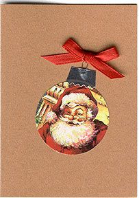 Christmas Card Ornament Cards. Punch circle from Christmas card and add foil tape at top.