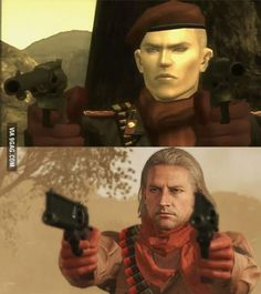 Revolver Ocelot 10 years apart. MGS3(2004) and MGS5(2014)