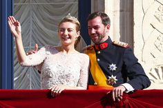 Princess Stephanie of Luxembourg and Prince Guillaume of Luxembourg wave to the crowds from the balcony of the Grand-Ducal Palace following the wedding ceremony of Prince Guillaume Of Luxembourg and Princess Stephanie of Luxembourg at the Cathedral of our Lady of Luxembourg on October 20, 2012 in Luxembourg, Luxembourg. The 30-year-old hereditary Grand Duke of Luxembourg is the last hereditary Prince in Europe to get married, marrying his 28-year old Belgian Countess bride in a lavish 2-day…