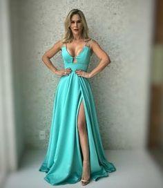 vestido de festa verde tiffany