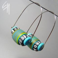 Eva Haskova ... Polymer clay jewellery - earrings. Hand made hook, combined with turqoiuse (mineral) beads.