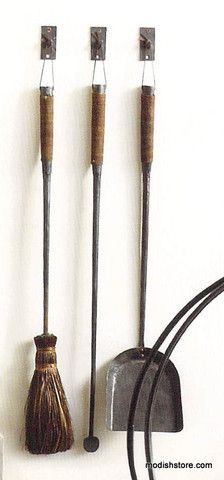 Roost Forged Iron Fireplace Tools, Set/3 w/3 Hooks | Modish Store
