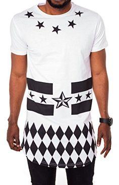 BLACK MAKI Herren Oversize T-Shirt Sterne Hip Hop Langes Shirt Longshirt Kurzarm Poloshirt Slim Fit Hemd Weiß Weiss S