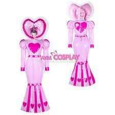 heavier PVC Vinyl dress lockable heart unisex CD/TV Tailor-made[G2339]