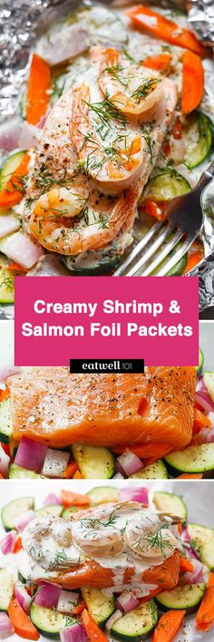 Shrimp and Salmon Foil Packs Creamy Shrimp and Salmon Foil Packets - Say hello to the easiest way to make salmon in foil packets!Creamy Shrimp and Salmon Foil Packets - Say hello to the easiest way to make salmon in foil packets! Salmon In Foil Recipes, Salmon Foil Packets, Easy Fish Recipes, Seafood Recipes, Seafood Meals, Healthy Grilled Chicken Recipes, Healthy Grilling Recipes, Cooking Recipes, Keto Recipes