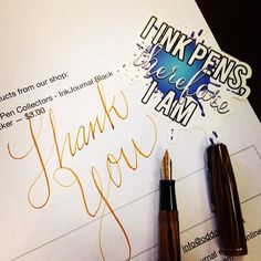 "Flexing this thank you note to Jennifer that includes some of these sweet ""I ink pens.."" decals. #fountainpen #waterman #vintagepen #flexnib Ink is Sailor Storia Lion Brown"