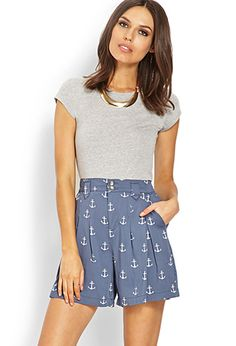 Pleated Anchor Shorts | FOREVER 21 - 2000070088