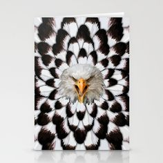 Eagle and feather Pattern Digital Art painting Stationery Card $12.00  #Leopard #albinoleopard #tiger #lion #hyenas #hyaenas #cat #animals #jaguar #LionRoar #Tigerskins #eagle #bird #eagleeye #pattern #StationeryCard