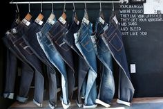 Display all denim together and make a feature of it with casual shoes and belts merchandised alongside.