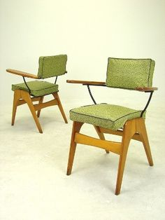 """Pair of Ultra Rare """"SC55"""" TV Side / Dining Chairs by Fred Lowen at FLER. Maple & Metal Frames with Original Vinyl Upholstery. 63w x 51d x 81h x 50sh. Circa 1955.  $400.00"""