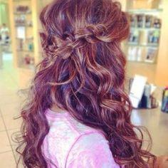 beachy waves and Chinese staircase waterfall braid half up hair