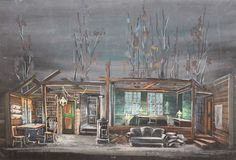 Theatre Scene Stage Design House Vintage Gouache Painting #Expressionism